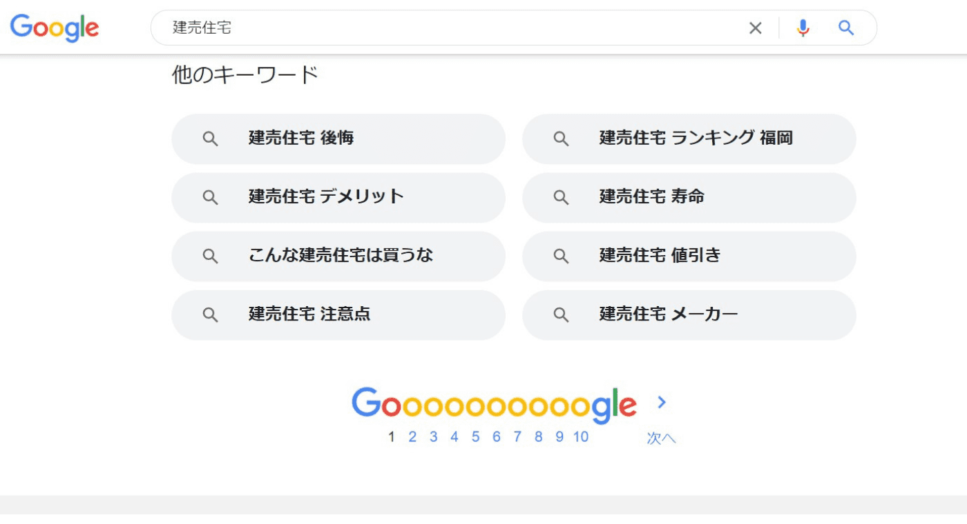 「建売住宅」と検索したときに表示される検索キーワード
